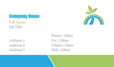 Blue and Green Palm Tree Business Card Template